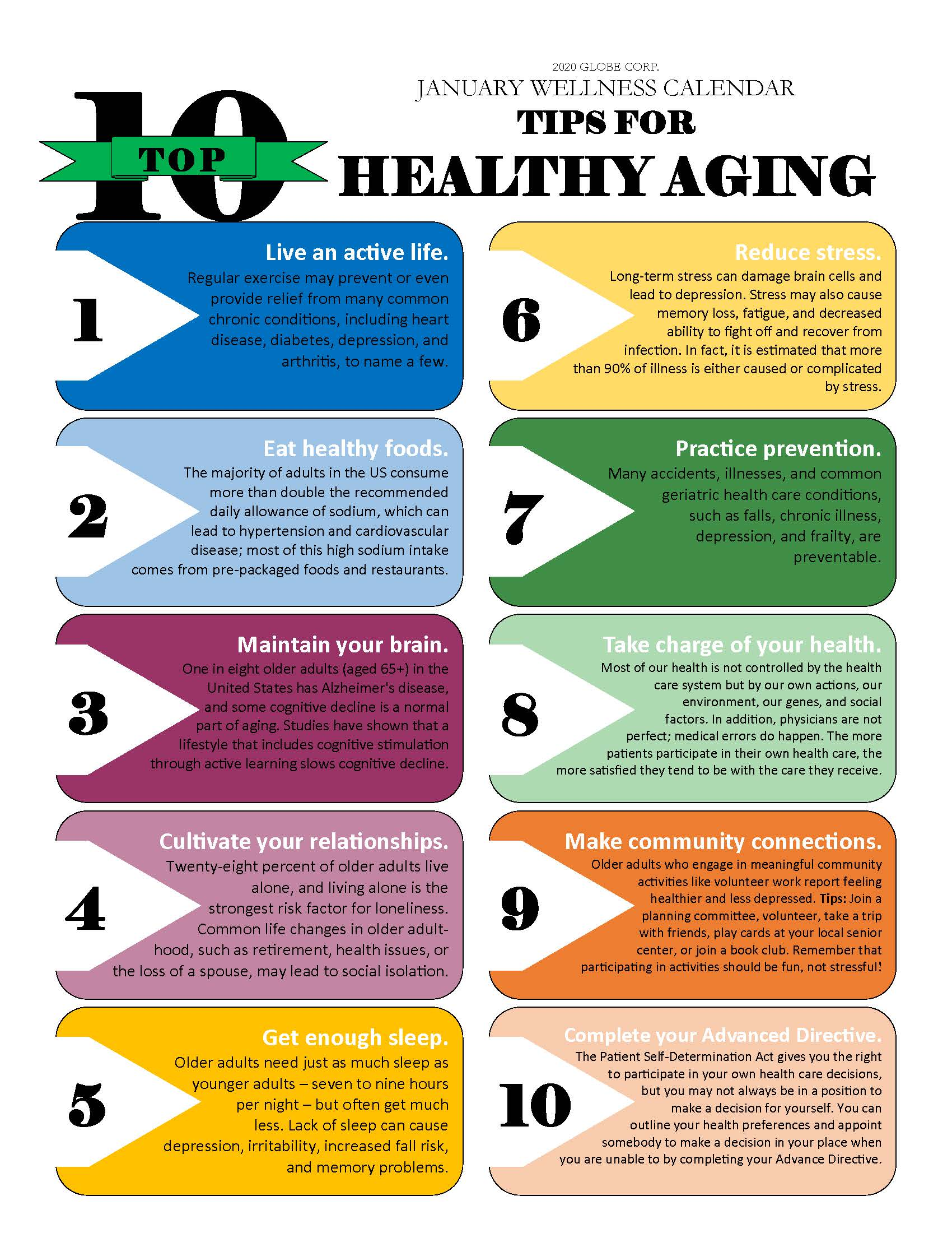 1 January Top 10 Tips for Aging Healthy