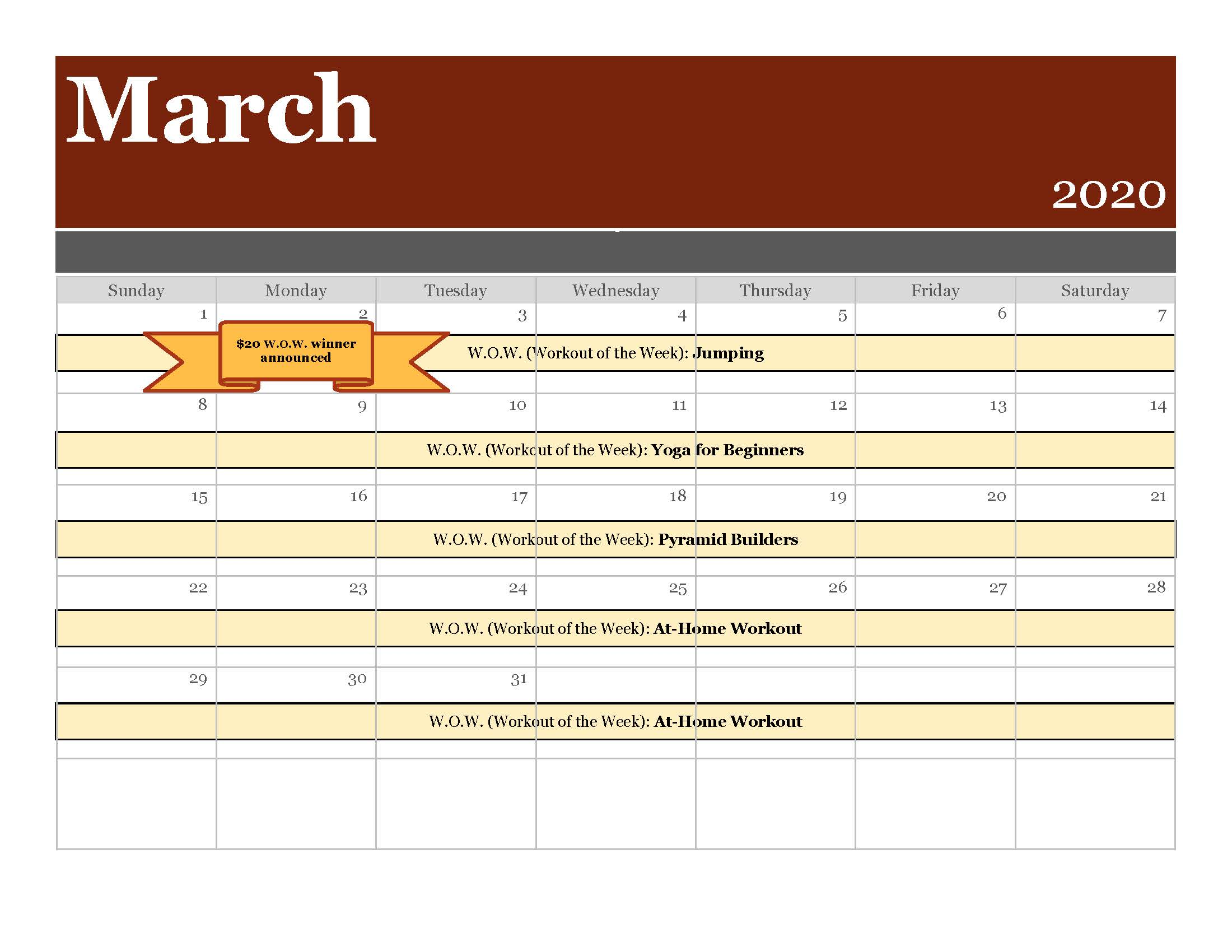 3 March 2020 Scottsdale Spectrum Calendar Updated COVID