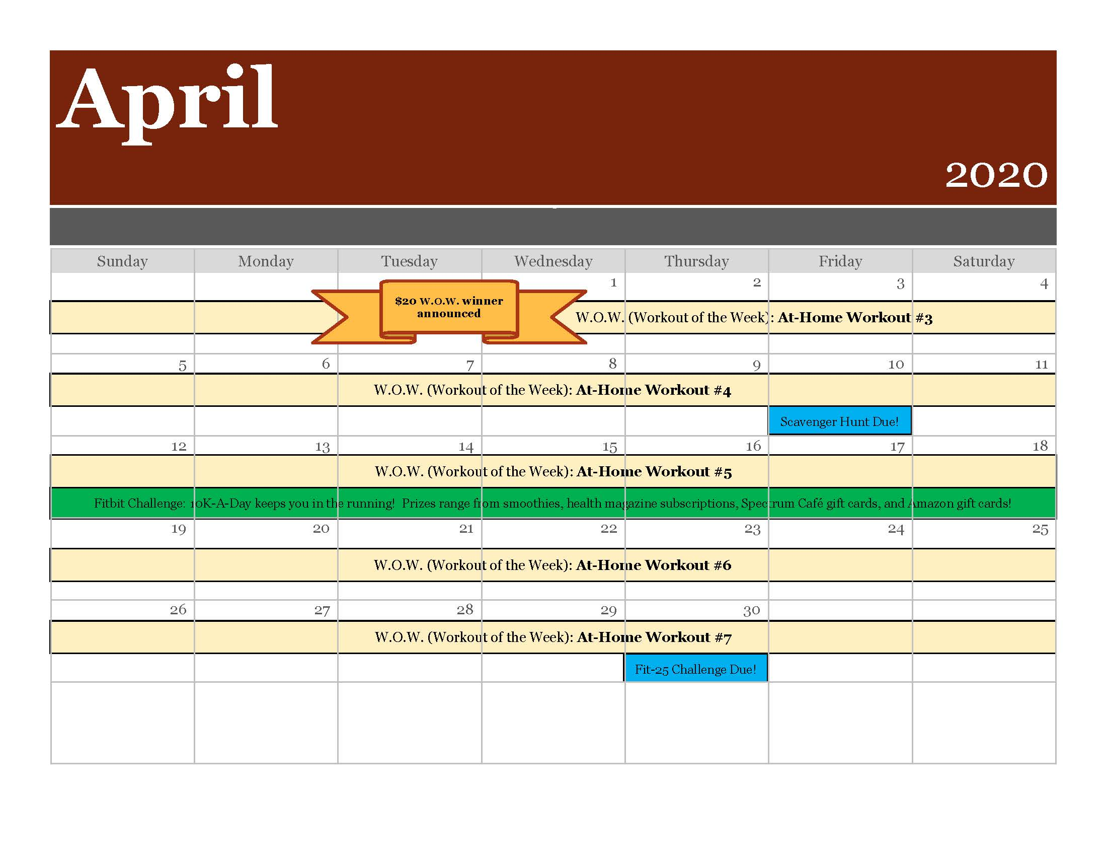 4 April 2020 Scottsdale Spectrum Calendar with Challenges