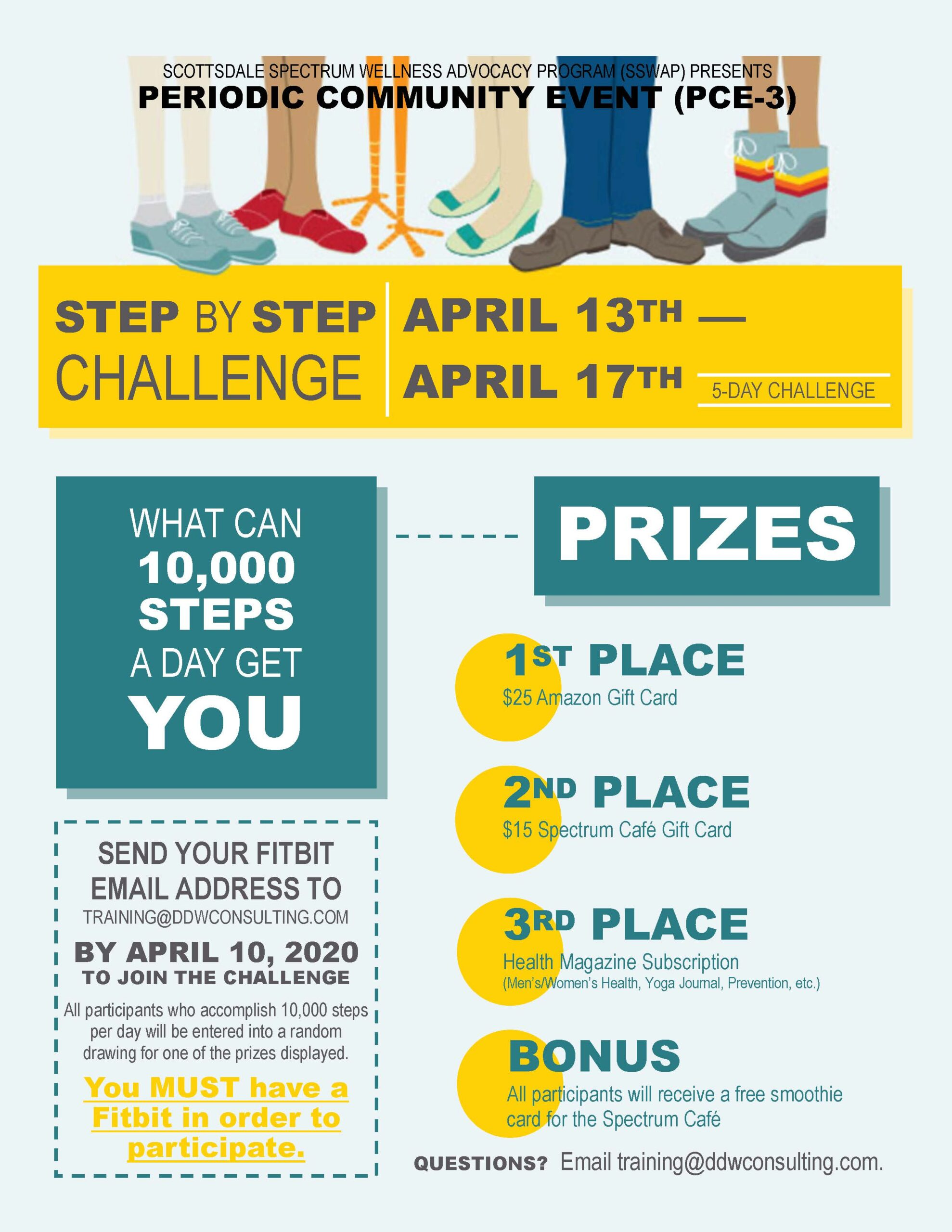 PCE-3 Fitbit Step by Step Week-Long Challenge 4-13-2020 to 4-17-2020